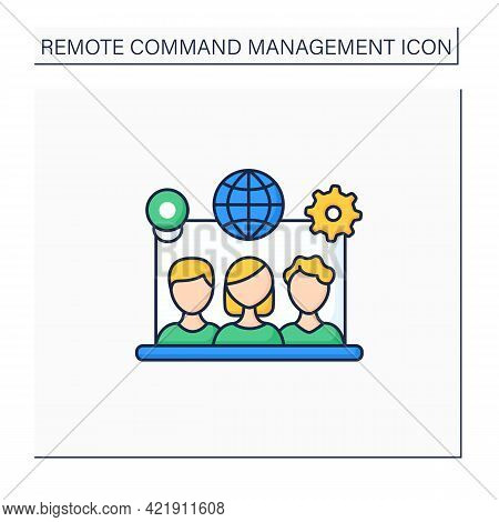 Remote Team Tools Color Icon. Connection Co-workers Experience. Similar Priorities, Interests. Non-t