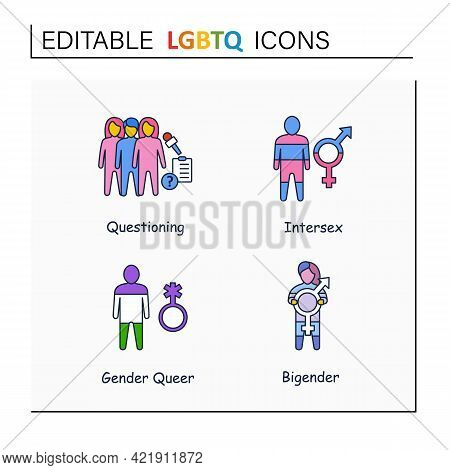 Lgbtq Collections Line Icons. Self Acceptance. Sexual Orientations.questioning. Intersex, Gender Que