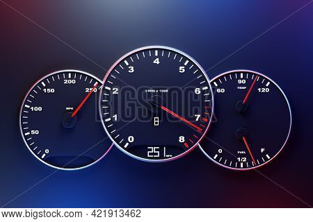 3d Illustration Of The Close Up Instrument Automobile Panel With Odometer, Speedometer, Tachometer