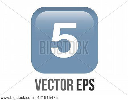 Vector Shinny Gradient Blue Keycap White Digit Five Icon Button