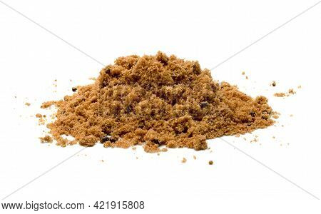 Brown Cane Sugar Pile Isolated On White Background