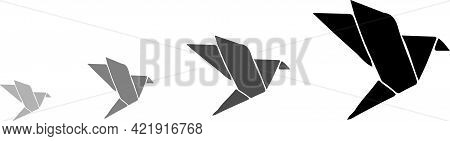 Origami Bird Icon Isolated On Background , Triangular, White, Wing, Wings