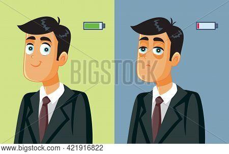 Full Energy Businessman Getting Burnout Syndrome Vector Illustration