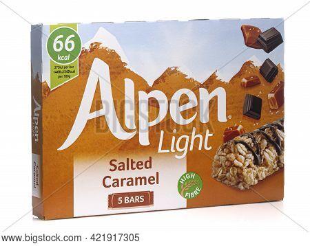 Swindon, Uk - May 27 2021: Box Of Alpen Light Bars High In Fibre Isolated On White Background