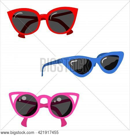 Set Of Glasse, Vector Isolated On White Background.