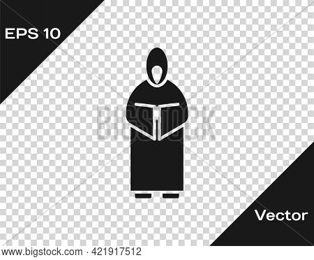 Black Monk Icon Isolated On Transparent Background. Vector Illustration