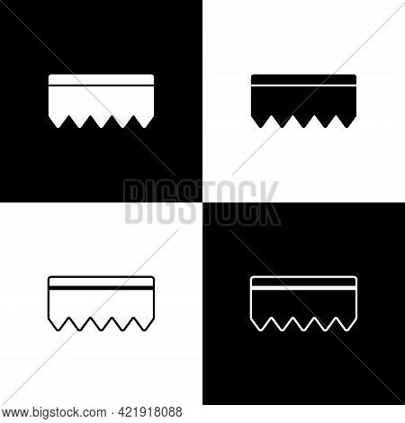 Set Sponge With Bubbles Icon Isolated On Black And White Background. Wisp Of Bast For Washing Dishes
