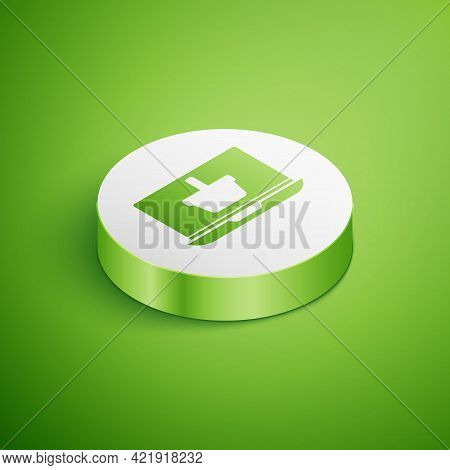 Isometric Shopping Basket On Screen Laptop Icon Isolated On Green Background. Concept E-commerce, E-