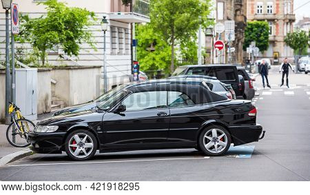 Strasbourg, France - May 20, 2021: Side View Of Black Luxury Vintage Saab 93e Cabrio Car Parked On F
