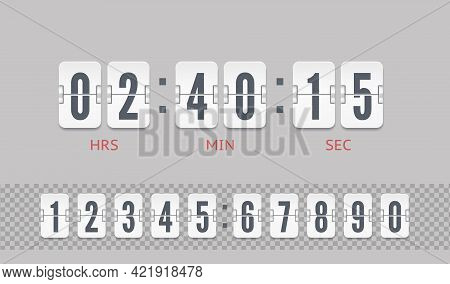 Analog Airport Board Countdown Timer Of Hour Or Minute. White Scoreboard Number Font. Vector Vintage