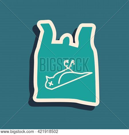 Green Dead Bird, Plastic Icon Isolated On Green Background. Element Of Pollution Problems Sign. Long