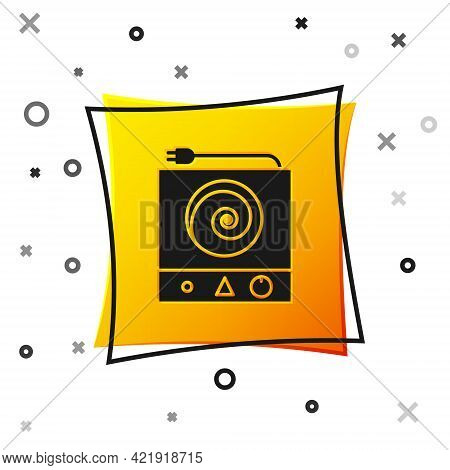 Black Electric Stove Icon Isolated On White Background. Cooktop Sign. Hob With Four Circle Burners.