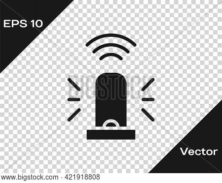Black Smart Flasher Siren System Icon Isolated On Transparent Background. Emergency Flashing Siren.