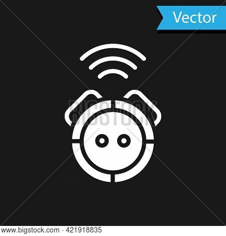 White Robot Vacuum Cleaner Icon Isolated On Black Background. Home Smart Appliance For Automatic Vac