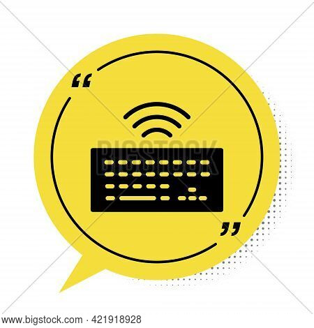 Black Wireless Computer Keyboard Icon Isolated On White Background. Pc Component Sign. Internet Of T