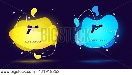 Black Pistol Or Gun Icon Isolated On Black Background. Police Or Military Handgun. Small Firearm. Ab