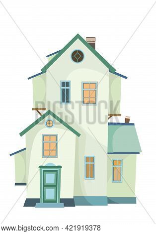 A Cartoon Two-story House With A Window In The Attic. Cozy Simple Rural Dwelling In A Traditional Eu