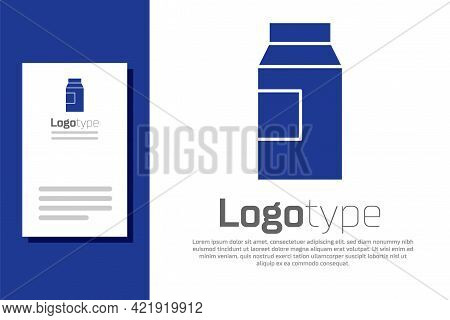 Blue Paper Package For Milk Icon Isolated On White Background. Milk Packet Sign. Logo Design Templat