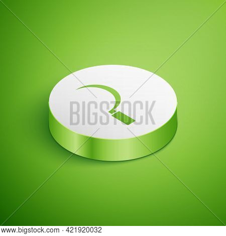 Isometric Sickle Icon Isolated On Green Background. Reaping Hook Sign. White Circle Button. Vector