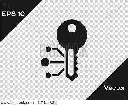 Black Cryptocurrency Key Icon Isolated On Transparent Background. Concept Of Cyber Security Or Priva