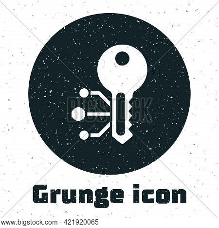Grunge Cryptocurrency Key Icon Isolated On White Background. Concept Of Cyber Security Or Private Ke