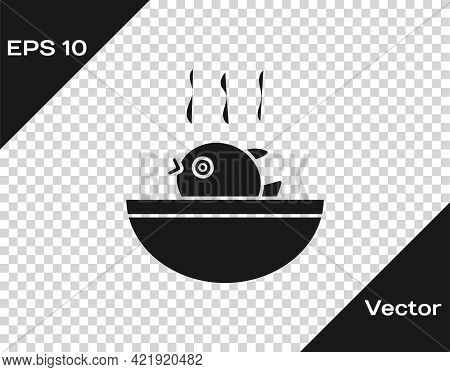 Black Puffer Fish Soup Icon Isolated On Transparent Background. Fugu Fish Japanese Puffer Fish. Vect
