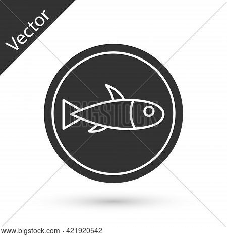 Grey Served Fish On A Plate Icon Isolated On White Background. Vector.