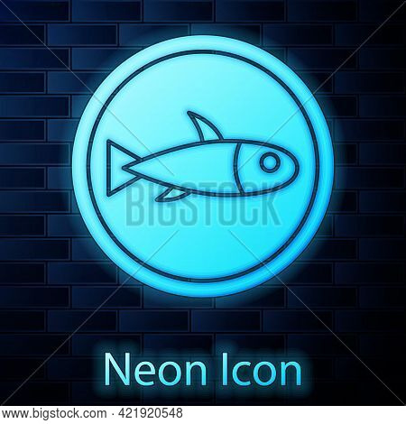 Glowing Neon Served Fish On A Plate Icon Isolated On Brick Wall Background. Vector.