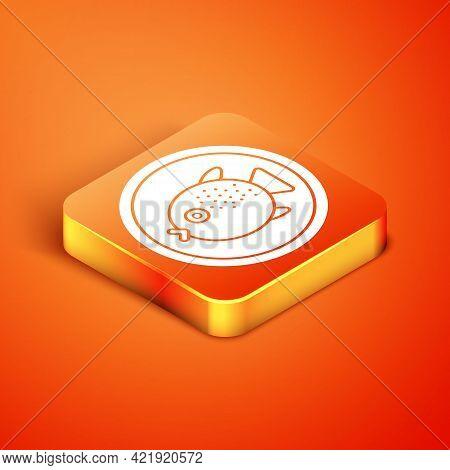 Isometric Puffer Fish On A Plate Icon Isolated On Orange Background. Fugu Fish Japanese Puffer Fish.