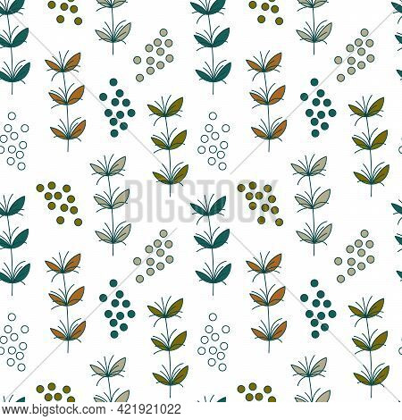 Seamless Pattern. Stylized Meadow Plants, Twigs With Colored Leaves, And Doodle Elements. Background