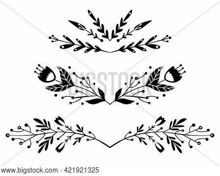 Set Of Black Silhouette Os Spacers With Tribal Twig. Vector Nature Design Elements. Folk Plant Text