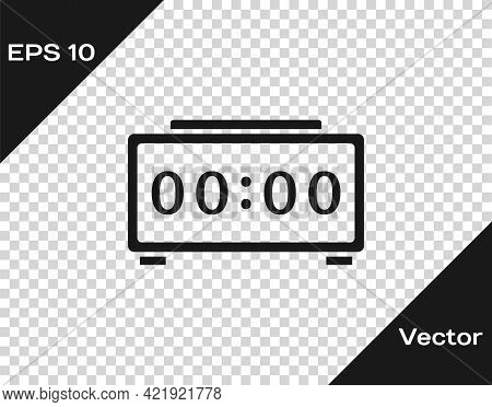 Black Digital Alarm Clock Icon Isolated On Transparent Background. Electronic Watch Alarm Clock. Tim