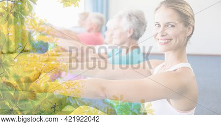 Composition of female instructor and senior women exercising in fitness class with tree overlay. retirement, fitness and active lifestyle concept digitally generated image.