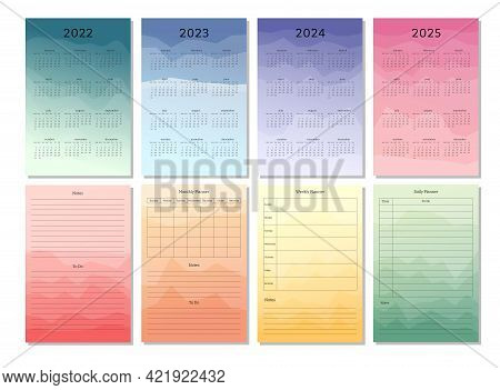2022 2023 2024 2025 Vertical Calendar Daily Weekly Monthly Personal Planner Schedule Diary Template.
