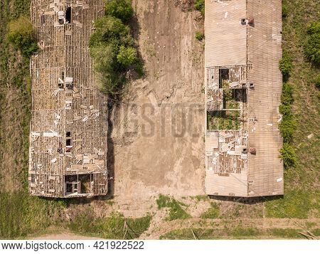 Abandoned Farm In Russia. Abandoned Farm In Rostov Region. Abandoned Farm From The Air. Aerial View
