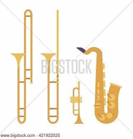 Wind Musical Instrument, Brass And Woodwind Set. Saxophone, Yellow Trumpet, Bright Trombone For Band