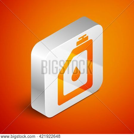 Isometric Canister For Motor Machine Oil Icon Isolated On Orange Background. Oil Gallon. Oil Change