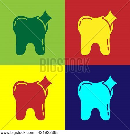 Pop Art Tooth Whitening Concept Icon Isolated On Color Background. Tooth Symbol For Dentistry Clinic