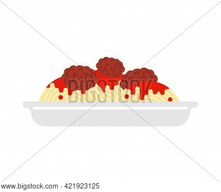 Pasta With Meatballs Isolated. Food Vector Illustration
