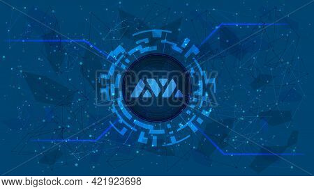 Avalanche Avax Token Symbol Of The Defi Project In Digital Circle With Cryptocurrency Theme On Blue
