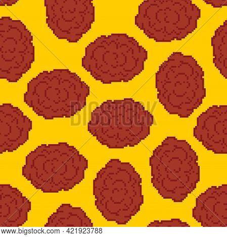 Meatball Pixel Art Pattern Seamless. Meatballs 8 Bit Background. Pixelated Food