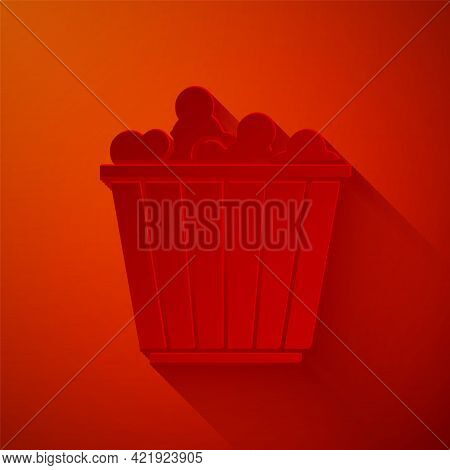 Paper Cut Popcorn In Cardboard Box Icon Isolated On Red Background. Popcorn Bucket Box. Paper Art St