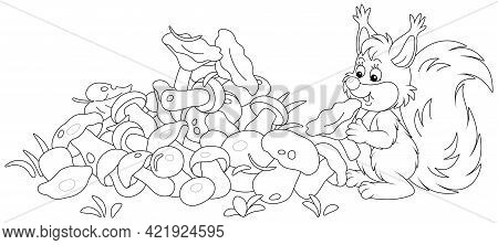 Little Squirrel Mushroomer With A Big Pile Of Picked Mushrooms On A Summer Forest Glade, Black And W