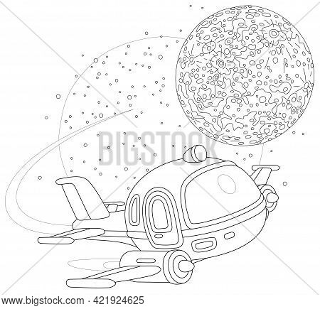 Toy Spaceship Flying Around A Small Planet In Space Flight, Black And White Outline Vector Cartoon I
