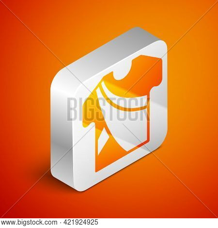 Isometric Indian Man Dress Traditional Hindu Clothes With Long Shirt Icon Isolated On Orange Backgro