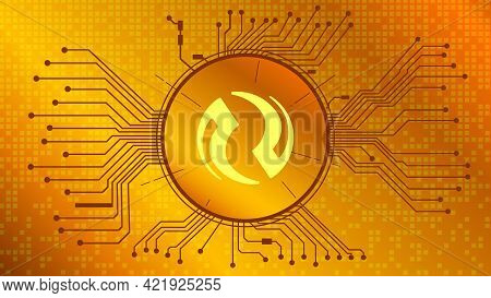 Injective Protocol Inj Cryptocurrency Token Symbol Of The Defi Project In Circle With Pcb Tracks On