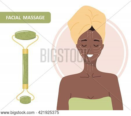 Jade Facial Roller. Chinese Gua Sha Massage. African Woman Portrait With Lymphatic Massage Scheme. C