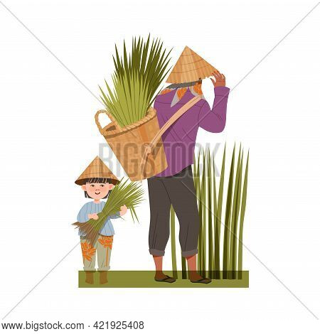 Asian Farmer With Little Kid In Straw Conical Hat Gathering Rice Grass In Wicker Basket Vector Illus