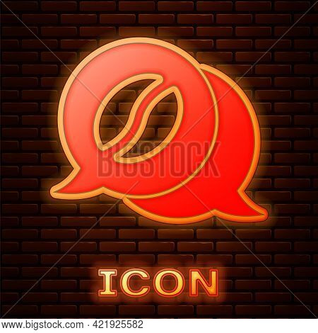 Glowing Neon Coffee And Conversation Icon Isolated On Brick Wall Background. Coffee Talk. Speech Bub