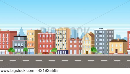 City Facade Buildings Town Street Panorama Concept. Modern City, Town Street. Sidewalk With City Lig